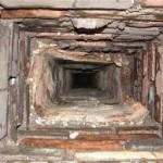 inside a brick chimney